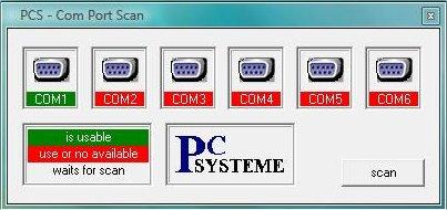 Screenshot vom Programm: PCS-ComPortScan